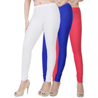 Fashion And Freedom Pack of 3 White,Blue And Red Satin Leggings