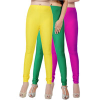 Fashion And Freedom Pack of 3 Yellow,Green And Magenta Satin Leggings