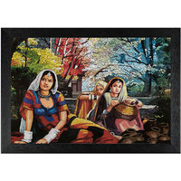 MDF, rajasthani, shivlinga, Black framed painting