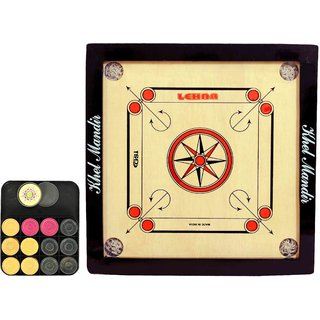 GSI Khel mandir Small Size 4mm Gloss finish Carrom board with coins striker and powder
