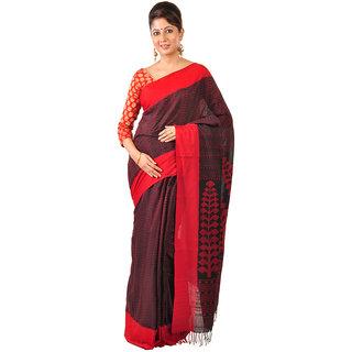 Ruprekha Fashion Cotton black color handloom Saree with woven threadwork all over