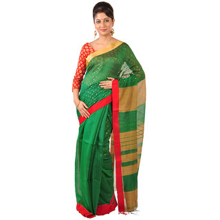 Ruprekha Fashion Silk Cotton Bengal handloom Green color saree with embeded sequin work