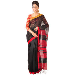 Ruprekha Fashion Silk Cotton Bengal Handloom Black color saree with embeded sequin work
