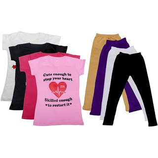 IndiWeaves Girls Cotton Leggings With T-Shirts(Pack of 4 Legging and 4 T-Shirts )GreyBlackPinkPinkBeigePurpleWhiteBlack30