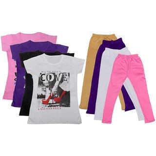IndiWeaves Girls Cotton Leggings With T-Shirts(Pack of 4 Legging and 4 T-Shirts )PinkPurpleBlackWhiteBeigePurpleWhitePink30