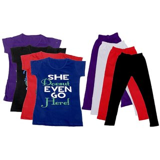 IndiWeaves Girls Cotton Leggings With T-Shirts(Pack of 4 Legging and 4 T-Shirts )PurpleBlackRedBluePurpleWhiteRedBlack30