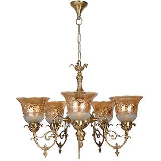 Fos Lighting Ornate Cast Brass 5 Light Lustrous Chandelier