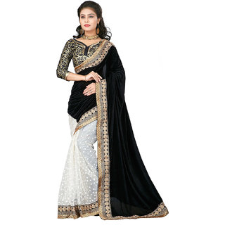SuratTex Black Net Printed Saree With Blouse
