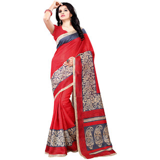 SuratTex Red Cotton Printed Saree With Blouse