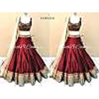 Maroon and Beige colored Tapeta Silk, Banglori and Net Special Designer Embroidered Lehenga choli