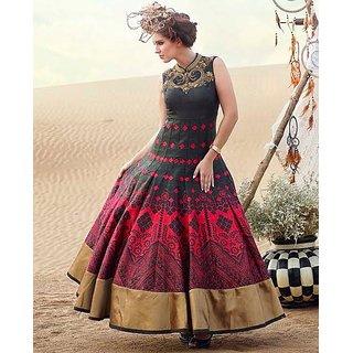 designer Women's -Black  With Net Anarkali Style gown