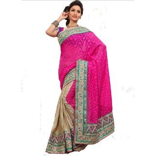 Monalisa Indain Designer Purple & Beige Bhagalpuri Embroidered Saree