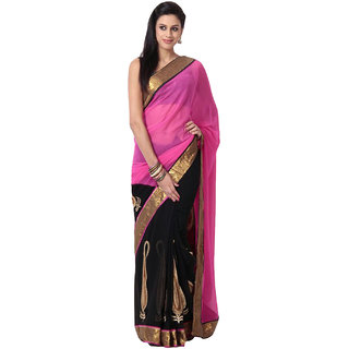 Surattex Black,Pink Embroidered Georgette Saree