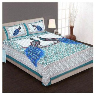 Akash Ganga Multicolour Cotton Double Bedsheet With 2 Pillow Covers(Rajasthani01)