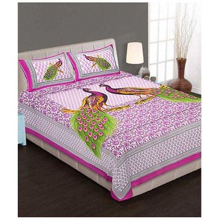 Akash Ganga Pink Cotton Double Bedsheet With 2 Pillow Covers(Rajasthani02)