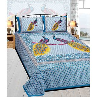 Akash Ganga Multicolor Cotton Double Bedsheet With 2 Pillow Covers(Rajasthani03)