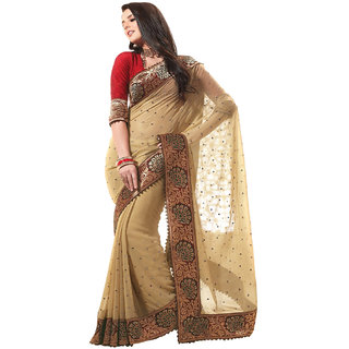 SuratTex Beige Georgette Embroidered Saree With Blouse