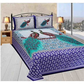 Akash Ganga Multicolor Cotton Double Bedsheet With 2 Pillow Covers(Rajasthani04)