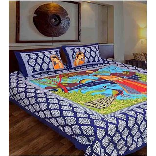 Akash Ganga Blue Cotton Double Bedsheet With 2 Pillow Covers(Rajasthani05)