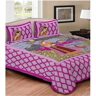 Akash Ganga Pink Cotton Double Bedsheet With 2 Pillow Covers(Rajasthani06)