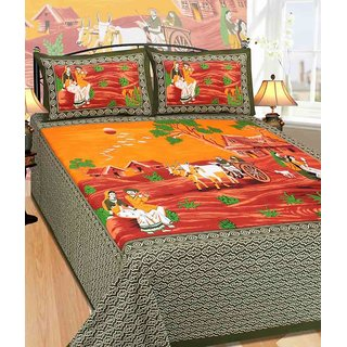 Akash Ganga Green Cotton Double 1 Bedsheet With 2 Pillow Covers(Rajasthani-08)