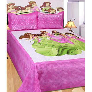 Akash Ganga Pink Cotton Double 1 Bedsheet With 2 Pillow Covers(Rajasthani10)