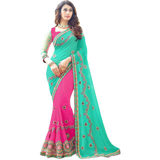 Surattex Green,Pink Embroidered Georgette Saree