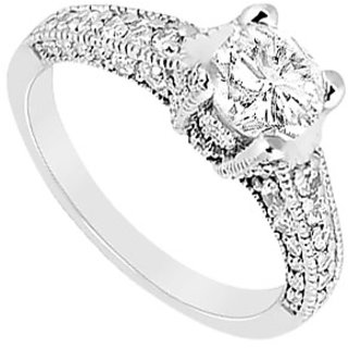 Lovebrightjewelry Traditional Diamond 14K White Gold Engagement Ring-1.25 Ct