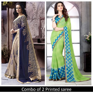 Triveni Blue  Green Georgette Printed Saree With Blouse