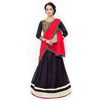 Triveni Pleasing Black Colored Plain Art Silk Lehenga Choli
