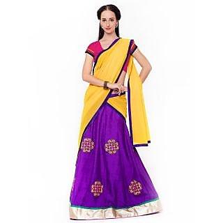 Triveni Appealing Purple Colored Plain Art Silk Lehenga Choli