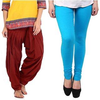 Stylobby Maroon Patiala Salwar SkyBlue Legging Pack Of 2