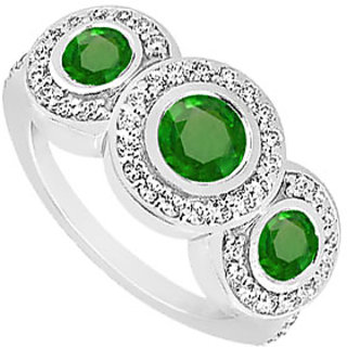 Lovebrightjewelry Emerald & Diamond 14K White Gold Engagement Ring-0.66 Ct