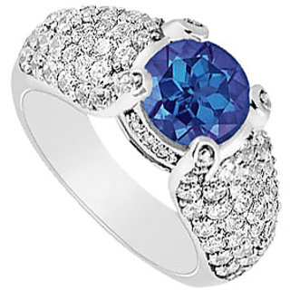 Lovebrightjewelry Sapphire & Diamond 14K White Gold Chic Engagement Ring-2.00 Ct