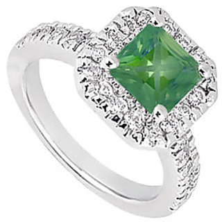 Lovebrightjewelry Emerald & Diamond 14K White Gold Stylish Engagement Ring-1.00 Ct