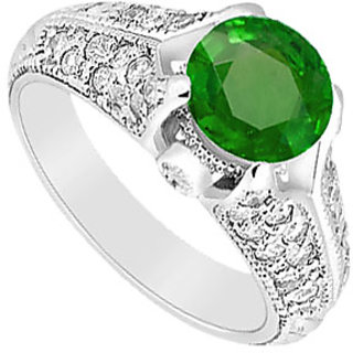 Lovebrightjewelry Emerald & Diamond Pretty 14K White Gold Engagement Ring-1.00 Ct