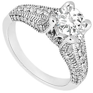 Lovebrightjewelry Diamond 14K White Gold Alluring Engagement Ring-1.00 Ct