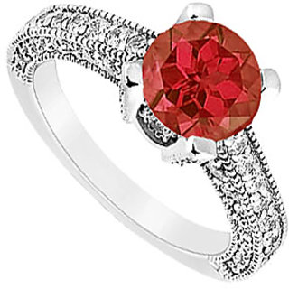 Lovebrightjewelry Ruby & Diamond 14K White Gold Engagement Ring-1.25 Ct