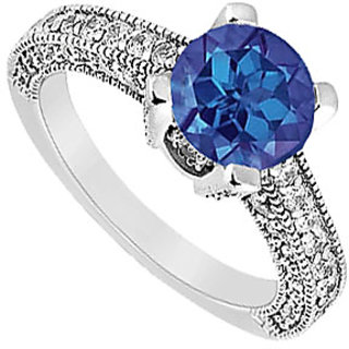 Lovebrightjewelry Sapphire & Diamond 14K White Gold Classic Engagement Ring-1.25 Ct