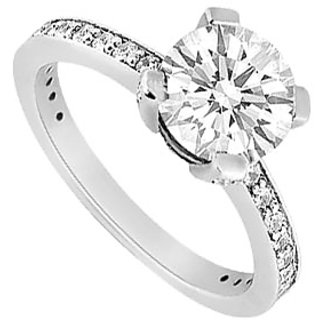 Lovebrightjewelry Diamond 14K White Gold Authentic Engagement Ring-1.00 Ct