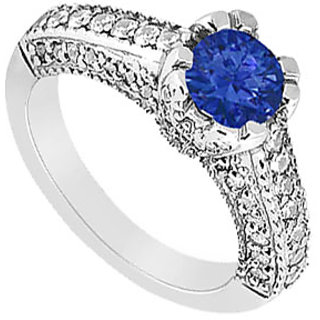 Lovebrightjewelry Sapphire & Diamond 14K White Gold Modern Engagement Ring-1.00 Ct
