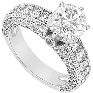 Lovebrightjewelry Diamond 14K White Gold Engagement Ring-2.00 Ct