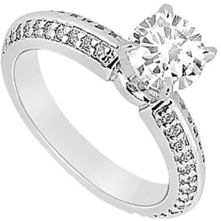 Lovebrightjewelry Diamond 14K White Gold Traditional Engagement Ring-1.00 Ct