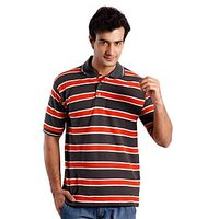 Weardo Polo Neck T-Shirt With Orange Stripes