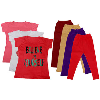 IndiWeaves Girls Cotton Legging With T-Shirt(Pack of 4 Girls Leggings and 3 T-Shirt )PinkWhiteRedMaroonBeigePurpleRed30