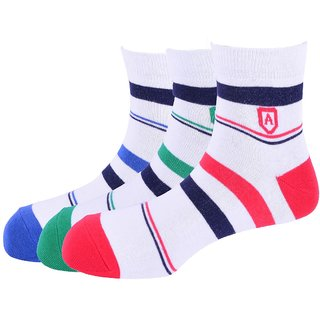 Arrow Mens Stripe Casual Ankle Length Soft Cotton Socks (Pack of 3) AOSN0215