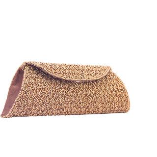 Kleio Ethnic Full Flap Beads Clutch (Gold) Bnb405Jp-Au