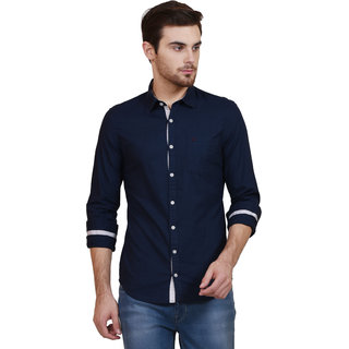 I M Young Men'S Navy Casual Shirts(Imy Slub 23S) IMY SLUB 23