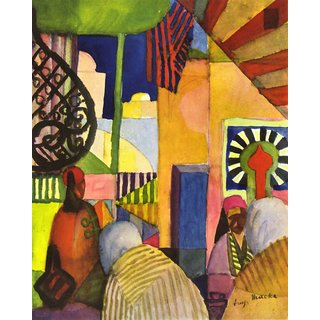 The Museum Outlet - In the bazaar by August Macke - Poster Print Online Buy (30 X 40 Inch)