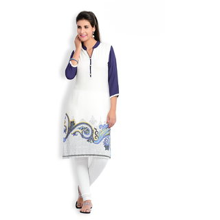 Zola Latest Designer Rayon White  Navy Blue Printed Kurti